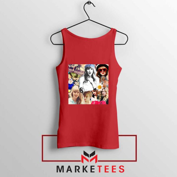 Taylor Swift Collages Red Tank Top