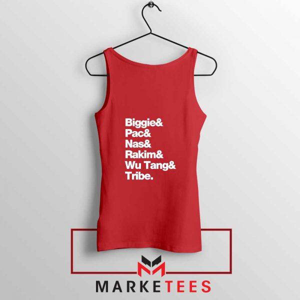 Biggie 2 Pac Nas Rakim Wu Tang Tribe Red Tank Top