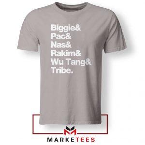 Biggie 2 Pac Nas Rakim Wu Tang Tribe Sport Grey Tee Shirt
