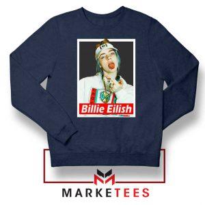 Billie Eilish Pop Singer Navy Blue Sweatshirt