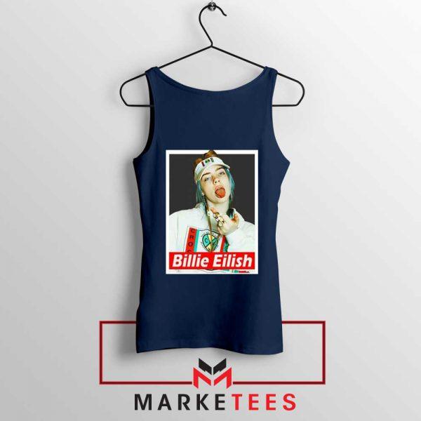 Billie Eilish Pop Singer Navy Blue Tank Top