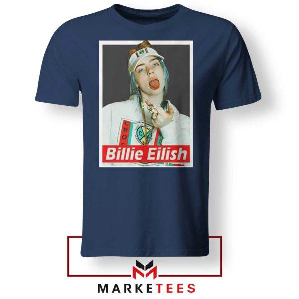 Billie Eilish Pop Singer Navy Blue Tee Shirt