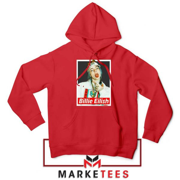 Billie Eilish Pop Singer Red Hoodie