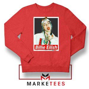 Billie Eilish Pop Singer Red Sweatshirt