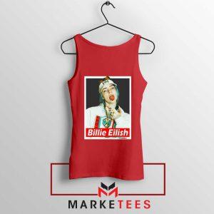 Billie Eilish Pop Singer Red Tank Top