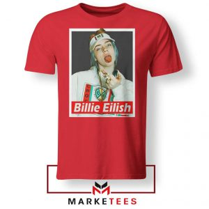 Billie Eilish Pop Singer Red Tee Shirt