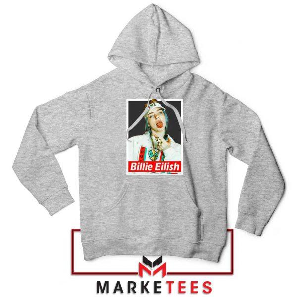 Billie Eilish Pop Singer Sport Grey Hoodie