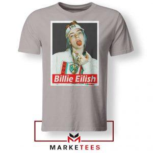Billie Eilish Pop Singer Sport Grey Tee Shirt