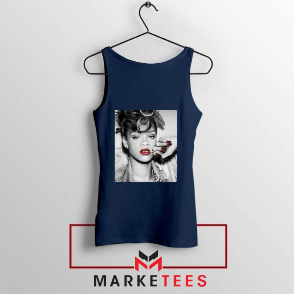 Buy Rihanna Music Singer Navy Blue Tank Top