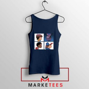 Buy Stranger Things Characters Navy Blue Tank Top