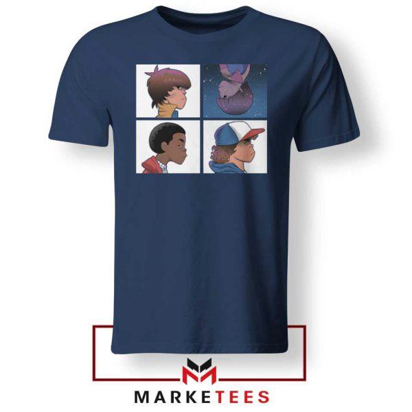 Buy Stranger Things Characters Navy Blue Tee Shirt