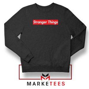 Buy Stranger Things Supreme Parody Black Sweater