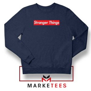 Buy Stranger Things Supreme Parody Navy Blue Sweater