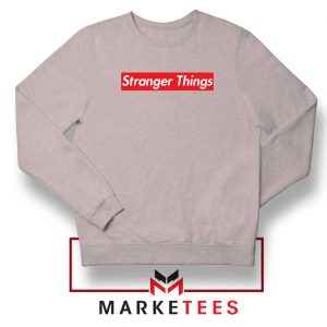 Buy Stranger Things Supreme Parody Sport Grey Sweater