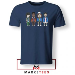 Characters Stranger Things Navy Blue Tee Shirt