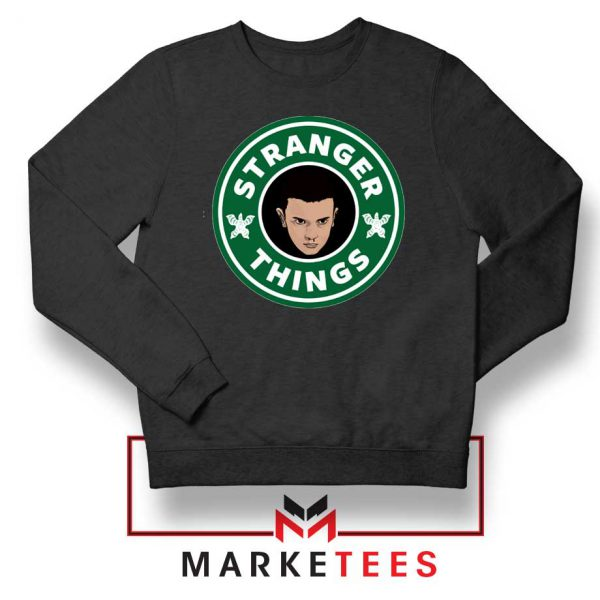 Eleven Starbucks Parody Black Sweatshirt