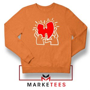 Keith Haring Rapper Parody Orange Sweatshirt