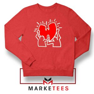 Keith Haring Rapper Parody Red Sweatshirt