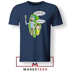 Rick And Morty Looks Like We're On A Phone Navy Blue Tshirt