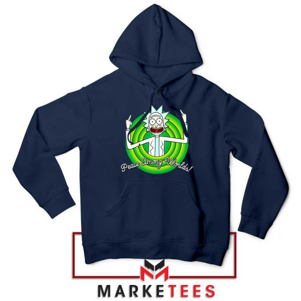 Rick And Morty Peace Among Worlds Navy Blue Hoodie