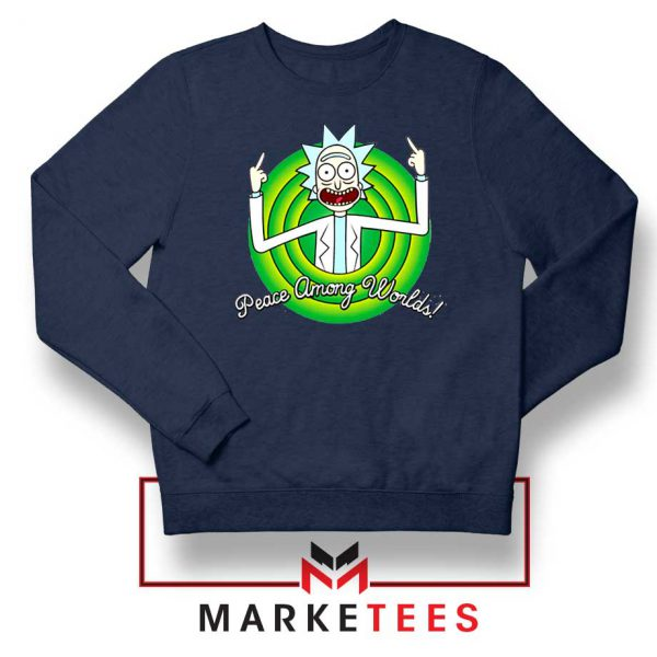 Rick And Morty Peace Among Worlds Navy Blue Sweatshirt