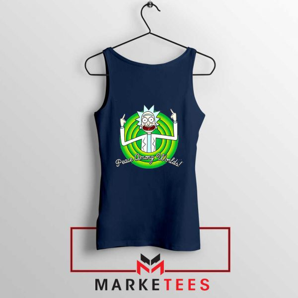 Rick And Morty Peace Among Worlds Navy Blue Tank Top