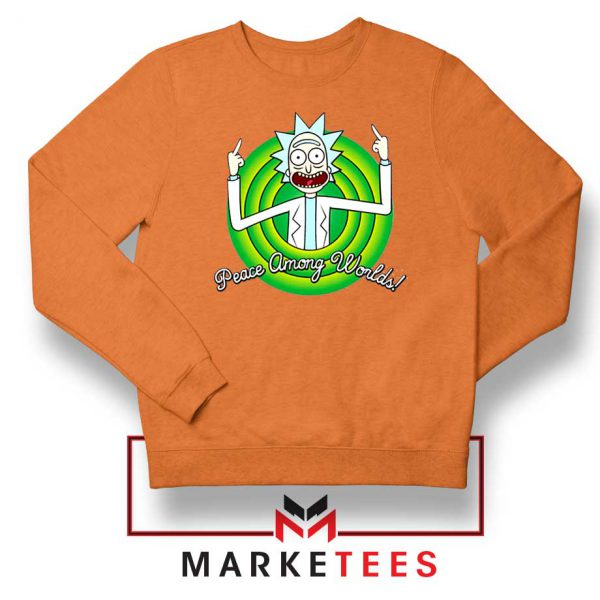 Rick And Morty Peace Among Worlds Orange Sweatshirt