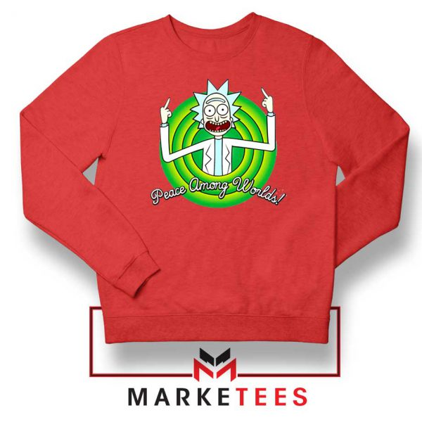 Rick And Morty Peace Among Worlds Red Sweatshirt