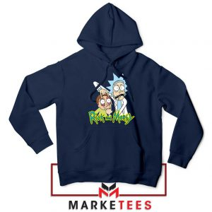 Rick and Morty Eyes Open Navy Blue Hoodie