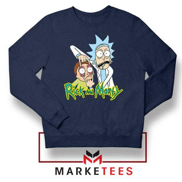 Rick and Morty Eyes Open Navy Blue Sweatshirt