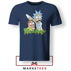 Rick and Morty Eyes Open Navy Blue Tshirt