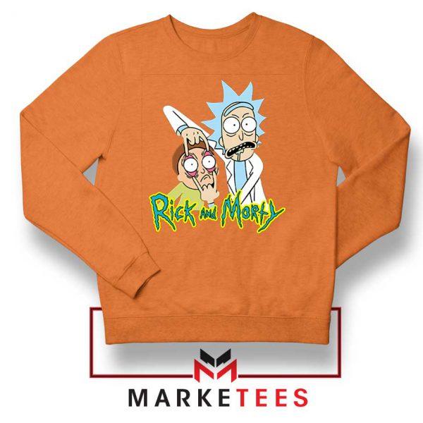 Rick and Morty Eyes Open Orange Sweatshirt