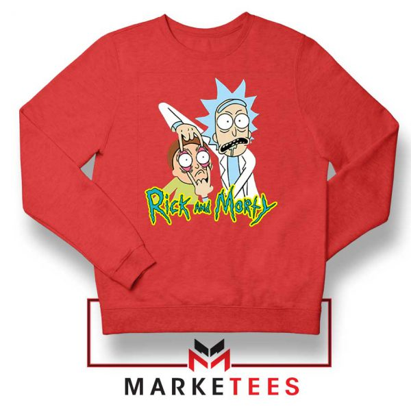 Rick and Morty Eyes Open Red Sweatshirt
