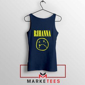 Rihanna Nirvana Navy Blue Tank Top