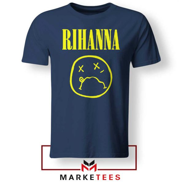 Rihanna Nirvana Navy Blue Tee Shirt