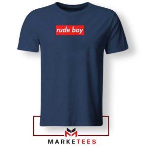 Rude Boy Music Rihanna Navy Blue Tee Shirt