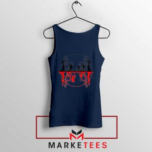 Silhouettes Upside Down Navy Blue Tank Top