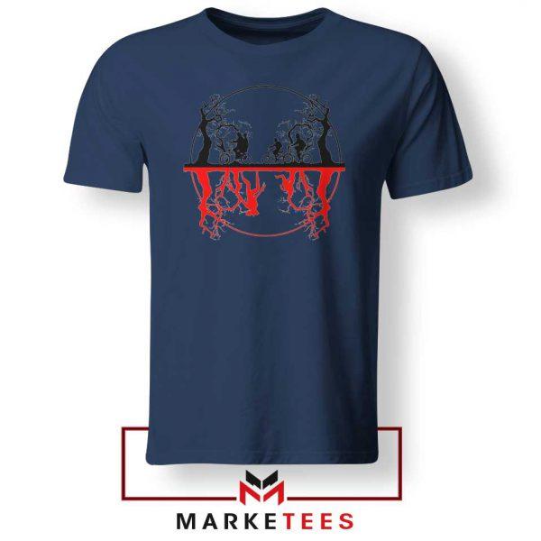 Silhouettes Upside Down Navy Blue Tee Shirt