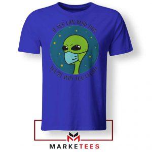 Social Distancing Alien Blue Tshirt