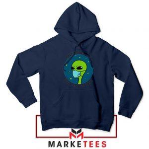 Social Distancing Alien Navy Blue Hoodie