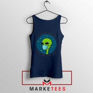 Social Distancing Alien Navy Blue Tank Top