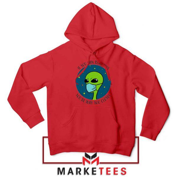 Social Distancing Alien Red Hoodie