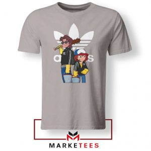 Stranger Things Adidas Parody Sport Grey Tee Shirt