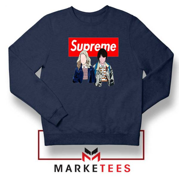 Stranger Things Eleven and Mike Navy Blue Sweatshirt