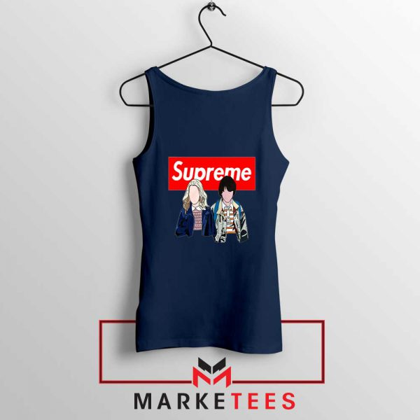 Stranger Things Eleven and Mike Navy Blue Tank Top