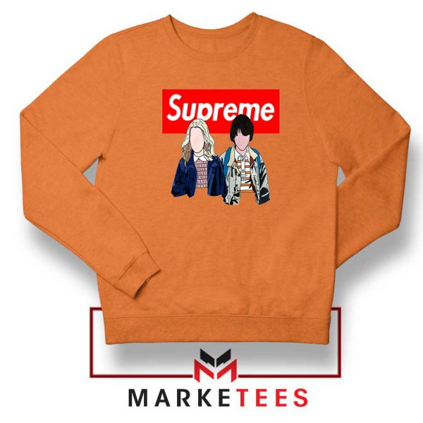Stranger Things Eleven and Mike Orange Sweatshirt