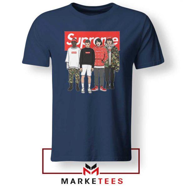 Stranger Things Funny Supreme Navy Blue Tee Shirt