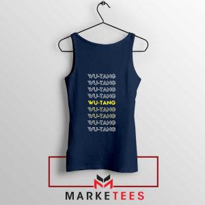 Typography Rapper Group Navy Blue Tank Top