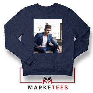 Zac Efron Richard Samuels Navy Blue Sweatshirt