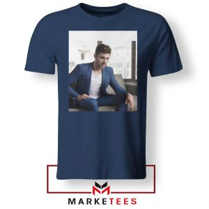 Zac Efron Richard Samuels Navy Blue Tshirt